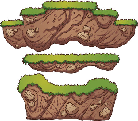 Grass and dirt platforms. Vector clip art illustration with simple gradients. Each on a separate layer.