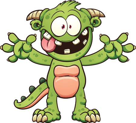 Green cartoon monster. Vector clip art illustration with simple gradients. Elements of the body on separate layers.