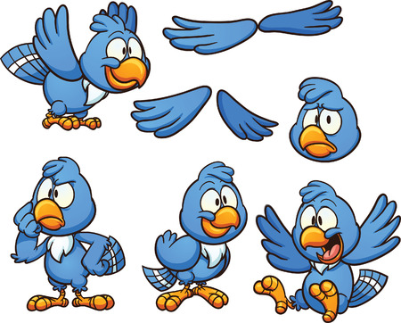 Cartoon blue bird in different poses Çizim