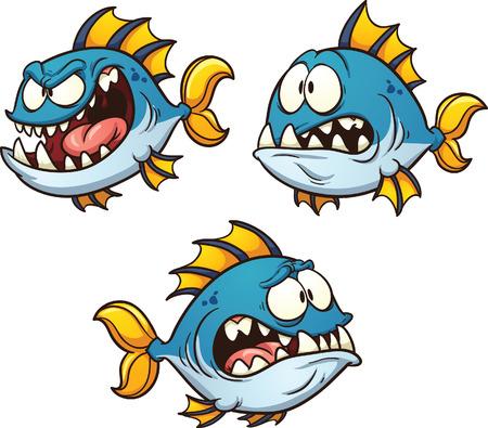 peces caricatura: Gran grasa y pescados de la historieta mal. Vector de im�genes predise�adas ilustraci�n con gradientes simples. Cada uno en una capa separada. Alumnos del ojo en capas separadas para facilitar la edici�n. Vectores