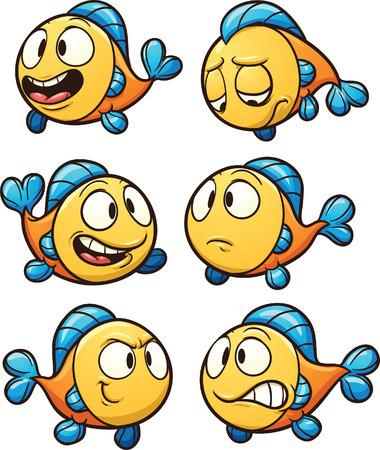 peces caricatura: Peces de dibujos animados poco. Vector de imágenes prediseñadas ilustración con gradientes simples. Cada uno en una capa separada. Vectores