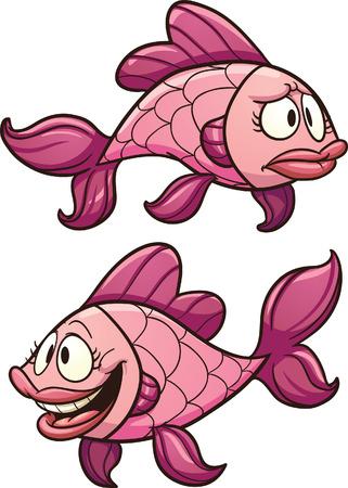 漫画ピンクの魚。シンプルなグラデーション ベクター クリップ アート イラスト。それぞれ別のレイヤーにします。