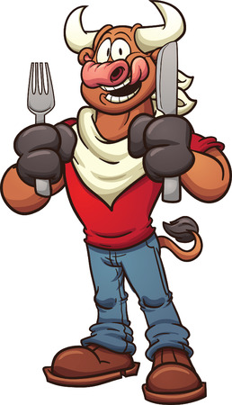 cartoon: Hungry cartoon bull. Vector clip art illustration with simple gradients. Hands on separate layers.