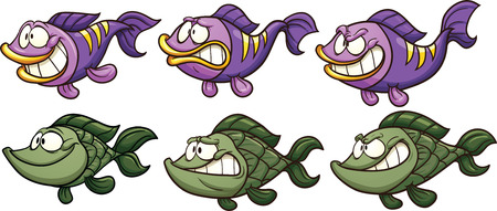 simple fish: Cartoon fish with different emotions. Vector clip art illustration with simple gradients. Each on a separate layer.