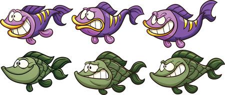 peces caricatura: Pescados de la historieta con emociones diferentes. Vector de imágenes prediseñadas ilustración con gradientes simples. Cada uno en una capa separada. Vectores