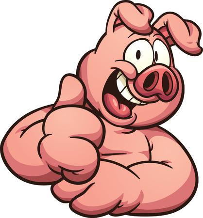 Cerdo de la historieta con el pulgar arriba. Vector de imágenes prediseñadas ilustración con gradientes simples. Todo en una sola capa. Ilustración de vector