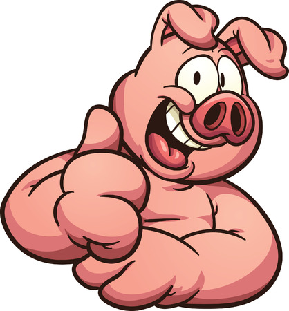 Cartoon pig with thumb up. Vector clip art illustration with simple gradients. All in a single layer. Vettoriali