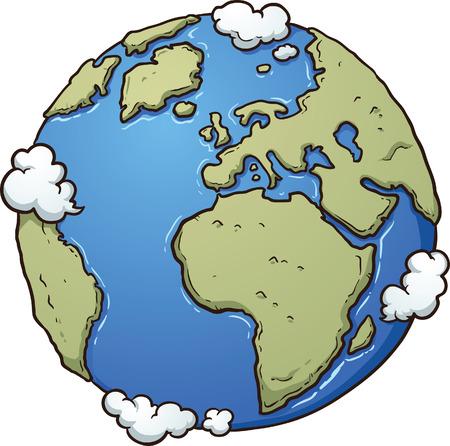 planeta verde: Tierra de dibujos animados. Vector de imágenes prediseñadas ilustración con gradientes simples. Todo en una sola capa.