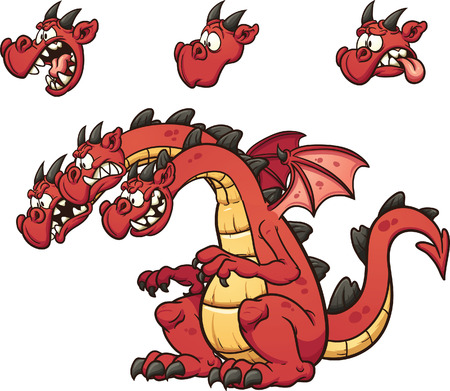 Three headed cartoon dragon. Vector clip art illustration with simple gradients. Each element on  a separate layer Ilustracja
