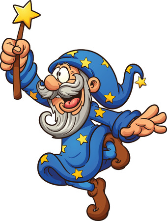 Cartoon wizard with magic wand. Vector clip art illustration with simple gradients. All in a single layer.