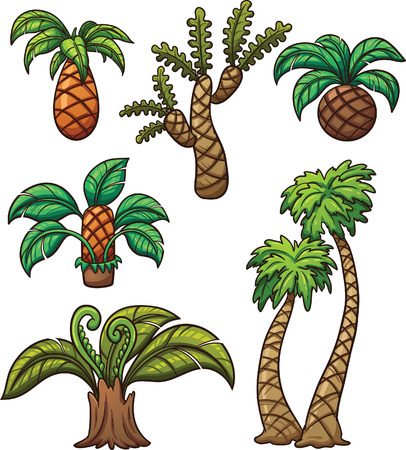 Prehistoric cartoon plants. Vector clip art illustration with simple gradients. Each on a separate layer. Illustration