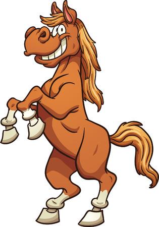 Cartoon paard staande op twee benen. Vector illustraties illustratie met eenvoudige hellingen. Alle in een enkele laag.
