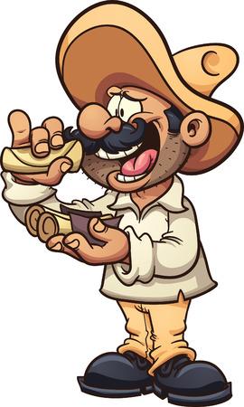 Hombre mexicano comer tacos. Vector de imágenes prediseñadas ilustración con gradientes simples. Todo en una sola capa.