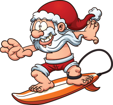 Cartoon surfing Santa Claus. Vector clip art illustration with simple gradients. All in a single layer. Ilustração
