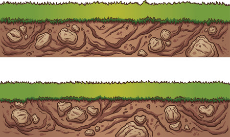 Grass and dirt seamless ground. Vector clip art illustration with simple gradients. Each on a separate layer.