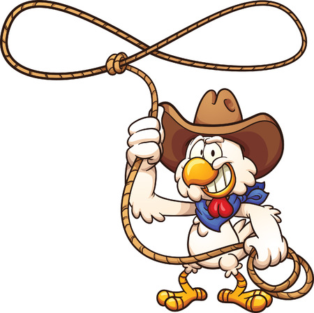 cartoon chicken: Cowboy chicken with lasso. Vector clip art illustration with simple gradients. All in a single layer. Illustration