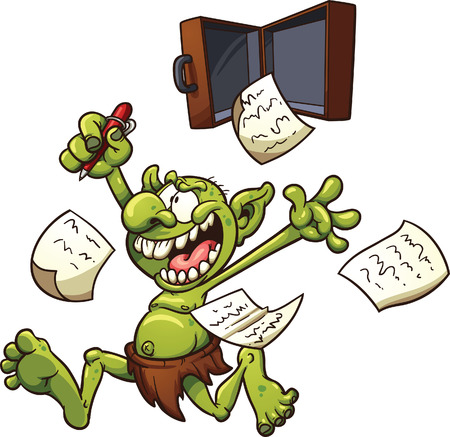 Crazy patent troll. Vector clip art illustration with simple gradients. Elements on separate layers for easy editing.