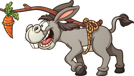 Donkey following a carrot tied to its back. Vector clip art illustration with simple gradients. All in a single layer. Vettoriali