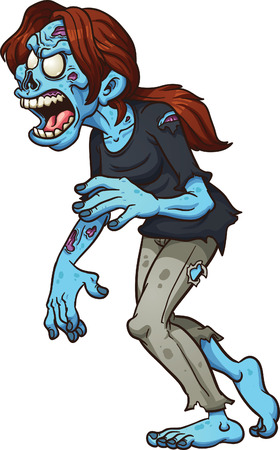 Zombie girl walking. Vector clip art illustration with simple gradients. All in a single layer. EPS10 file included.