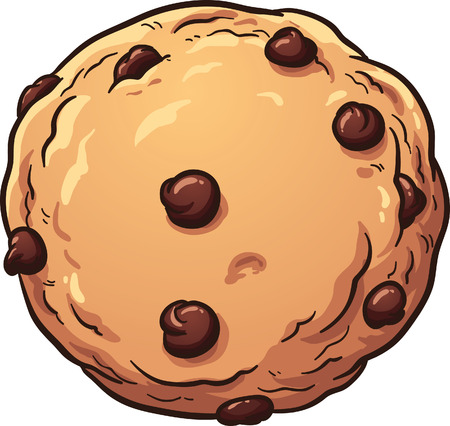 biscuits: Chocolate chip cookie. Vector clip art illustration with simple gradients. All in a single layer.