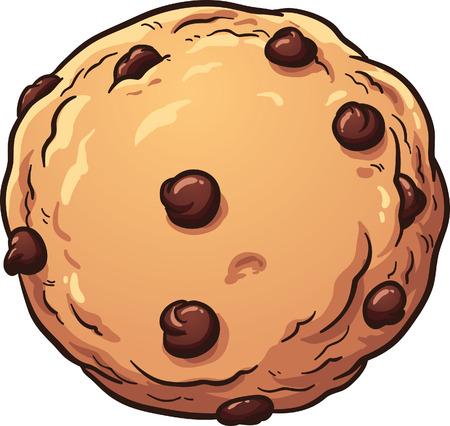 chocolate cookie: Galleta con chispas de chocolate. Vector de imágenes prediseñadas ilustración con gradientes simples. Todo en una sola capa.