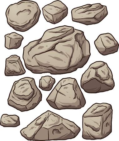 Massi Cartoon. Cartoon massi rocce e sassi. Illustrazione di clip art illustrazione con gradienti semplici. Ciascuno su un livello separato. Vettoriali