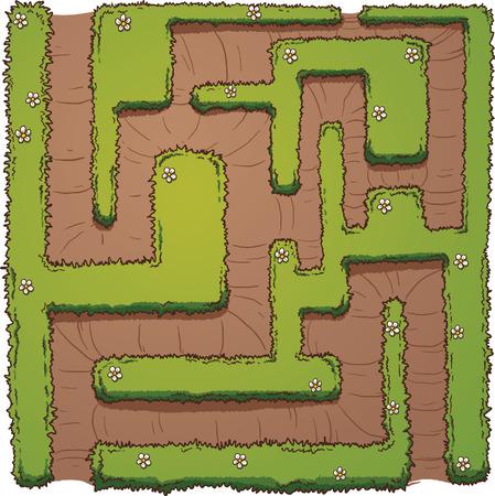 漫画ヘッジ迷路。シンプルなグラデーション ベクター クリップ アート イラスト。花は、別のレイヤー上の迷路。