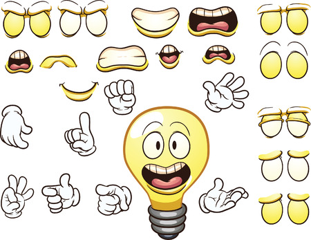 Cartoon lightbulb character. Vector clip art illustration with simple gradients. Each element on a separate layer.
