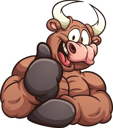Cartoon bull. Vector clip art illustration with simple gradients. All in a single layer. Vectores