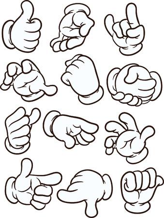 guantes: Cartoon manos haciendo gestos diferentes. Vector de imágenes prediseñadas ilustración con gradientes simples. Cada uno en una capa separada