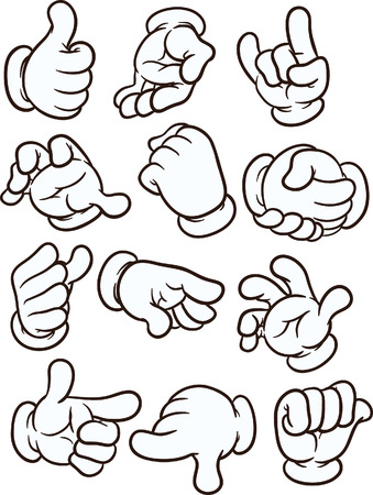 Cartoon hands making different gestures. Vector clip art illustration with simple gradients. Each on a separate layer