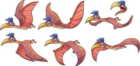 dinosauro: Cartoon Quetzalcoatlus dinosauro pronto animazione indietro. Illustrazione di clip art illustrazione con gradienti semplici. Ciascuno su un livello separato. Vettoriali