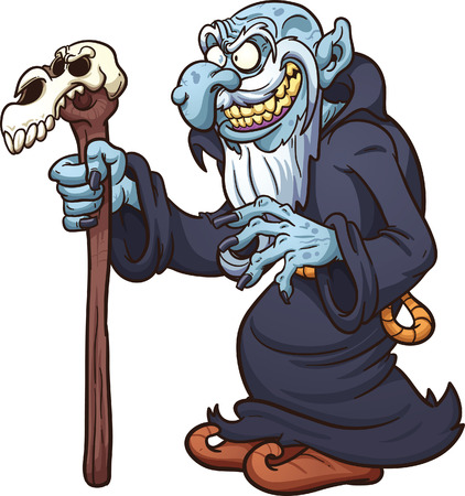 Evil cartoon wizard. Vector clip art illustration with simple gradients. All in a single layer.