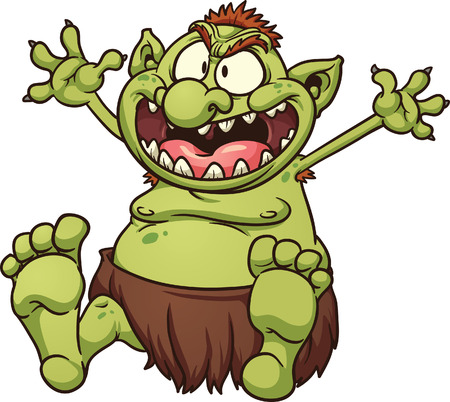troll: Fat cartoon troll. Vector clip art illustration with simple gradients. All in a single layer.