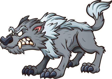 lobo feroz: Lobo gris de dibujos animados. Vector de imágenes prediseñadas ilustración con gradientes simples. Todo en una sola capa. Vectores