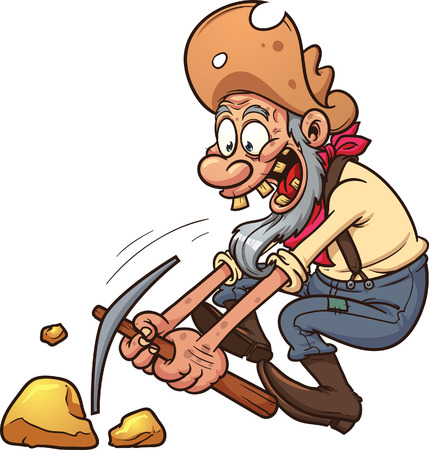 Happy gold miner using a pickaxe. Vector clip art illustration with simple gradients. All in a single layer. Vectores