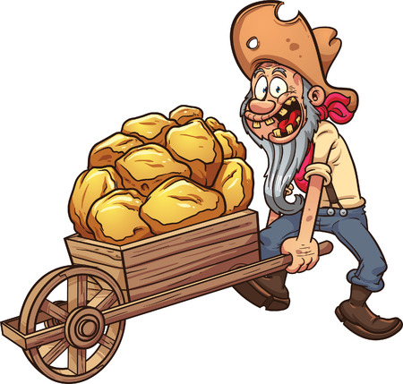 Cartoon miner with a wheelbarrow full of gold. Vector clip art illustration with simple gradients. All in a single layer.