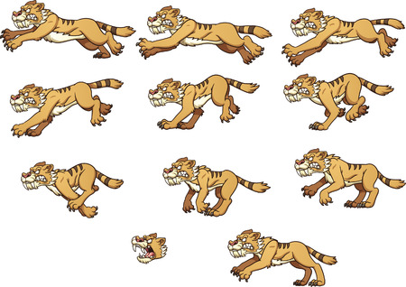Saber tooth tiger running. Vector clip art illustration with simple gradients. Each on a separate layer. Vector