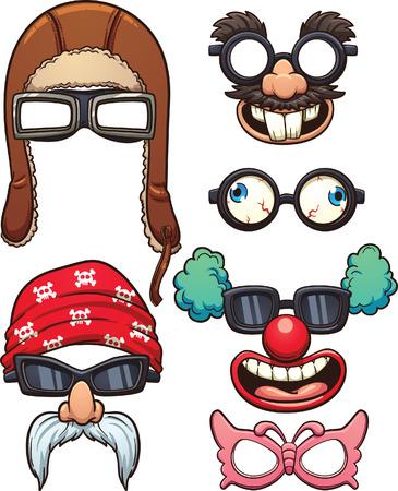 payasos caricatura: Vidrios divertidos dibujos animados. Vector de imágenes prediseñadas ilustración con gradientes simples. Cada uno en una capa separada. Vectores