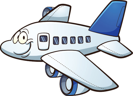 Happy cartoon airplane. Vector clip art illustration with simple gradients. Airplane and face on separate layers.