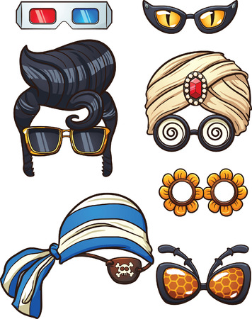 funny glasses: Funny cartoon glasses. Vector clip art illustration with simple gradients. Each on a separate layers.