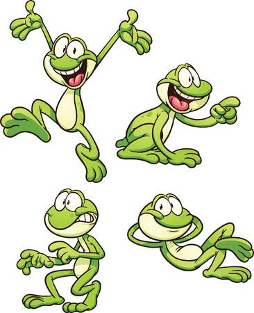 다른 포즈에서 만화 개구리. 간단한 그라데이션으로 벡터 클립 아트 그림입니다. 별도의 레이어에 각.