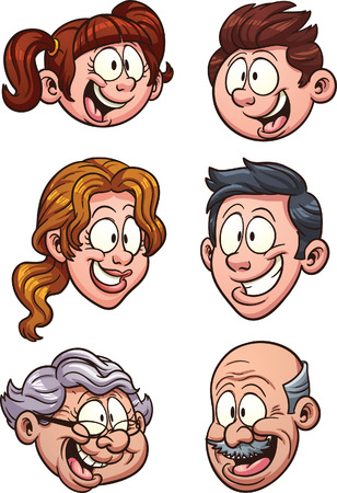 Cartoon family heads. Vector clip art illustration with simple gradients. Each on a separate layer. Çizim