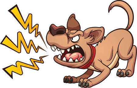 Cartoon barking dog. Vector clip art illustration with simple gradients. Dog and bark on separate layers Vettoriali