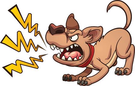 perro furioso: Cartoon ladridos de perro. Vector de imágenes prediseñadas ilustración con gradientes simples. Perro y la corteza en capas separadas Vectores