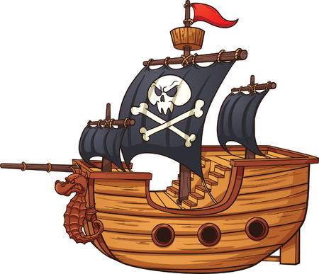 all in: Cartoon pirate ship. Vector clip art illustration with simple gradients. All in a single layer.