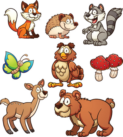 Cartoon forest animals. Vector clip art illustration with simple gradients. Each on a separate layer. Vettoriali