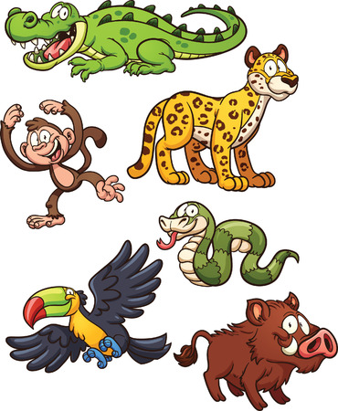 Jungle animals. Vector clip art illustration with simple gradients. Each on a separate layer.