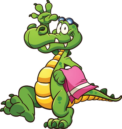 Cartoon crocodile with towel and goggles. Vector clip art illustration with simple gradients. All in a single layer.