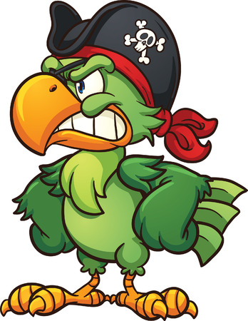 sombrero pirata: Loro pirata enojado. Vector de imágenes prediseñadas ilustración con gradientes simples. Todo en una sola capa. Vectores
